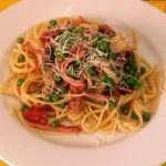 Bacon, Mushroom and Pea Linguine