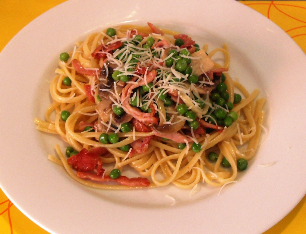 Bacon, Mushroom and Pea Linguine - @FabFood4All