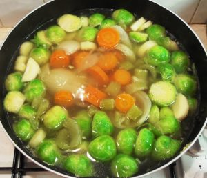 Sprouts, parsnips, carrots, celery, onion, gammon stock