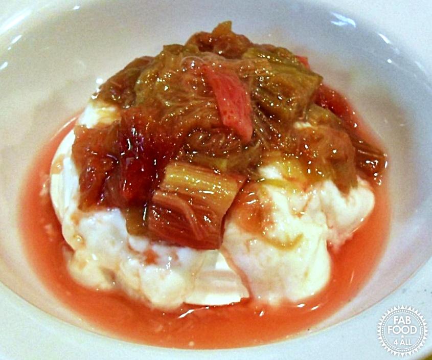 Rhubarb Compote with Vanilla Greek Yogurt & Meringue