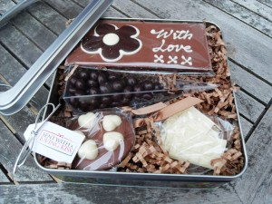 Chocolate in a tin gift, British chocolatieres