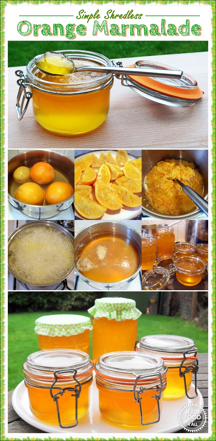 Simple Shredless Orange Marmalade, uses ordinary oranges & no fancy equipment! Fab Food 4 All