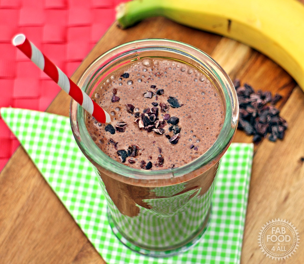 Banana & Cacao Milkshake - a delicious pick-me-up! Fab Food 4 All