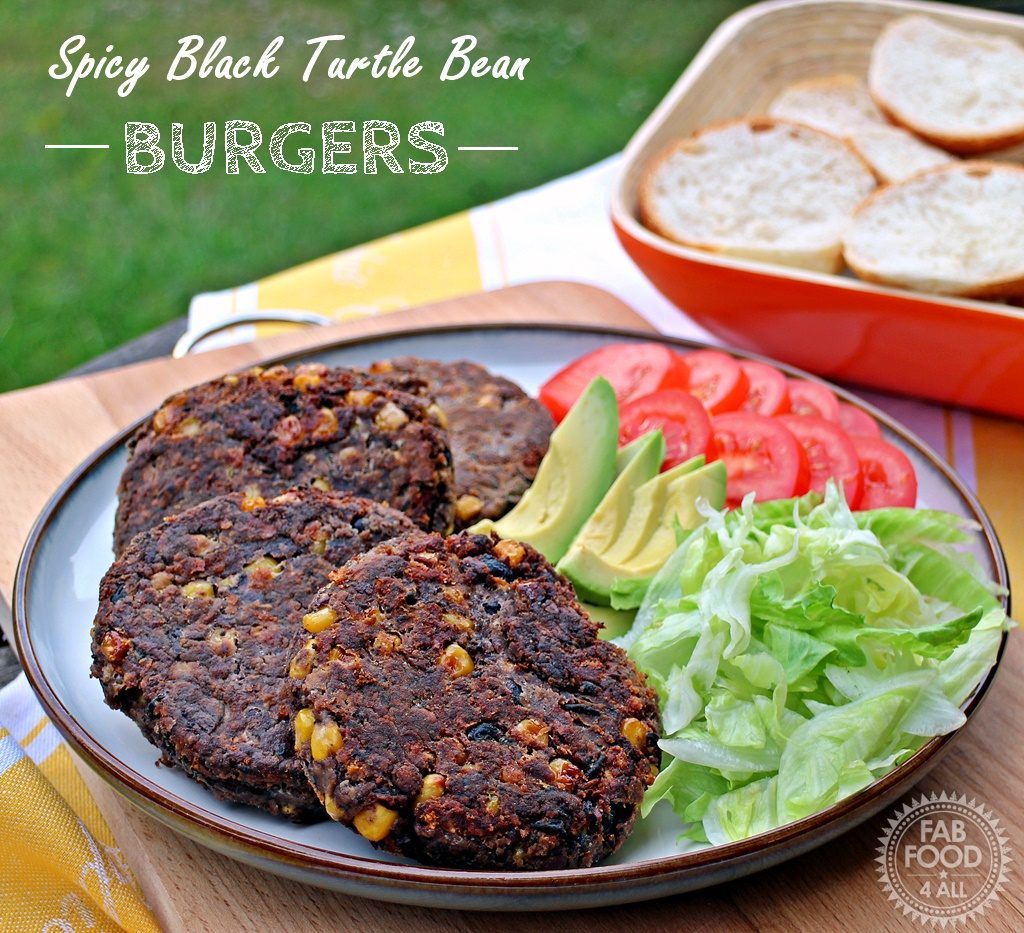 Spicy Black Turtle Bean Burgers - Fab Food 4 All