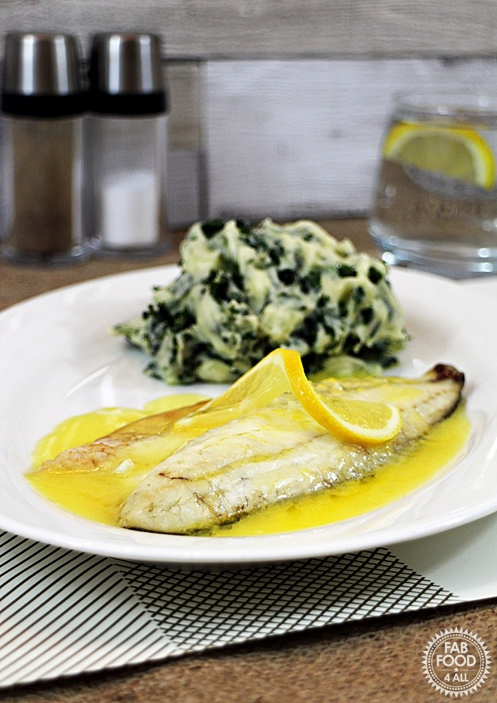 Grilled Seabass with Lemon Garlic Butter Sauce and Colcannon