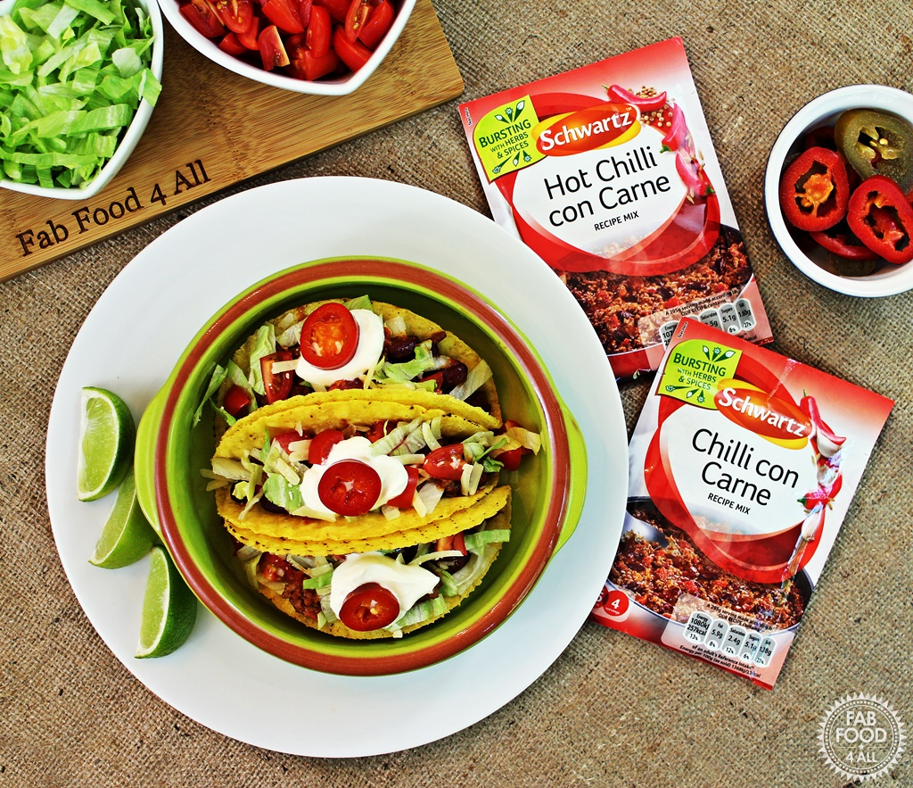 Chilli con Carne Tacos made with Schwartz Recipe Mix for a great quick meal! Fab Food 4 All