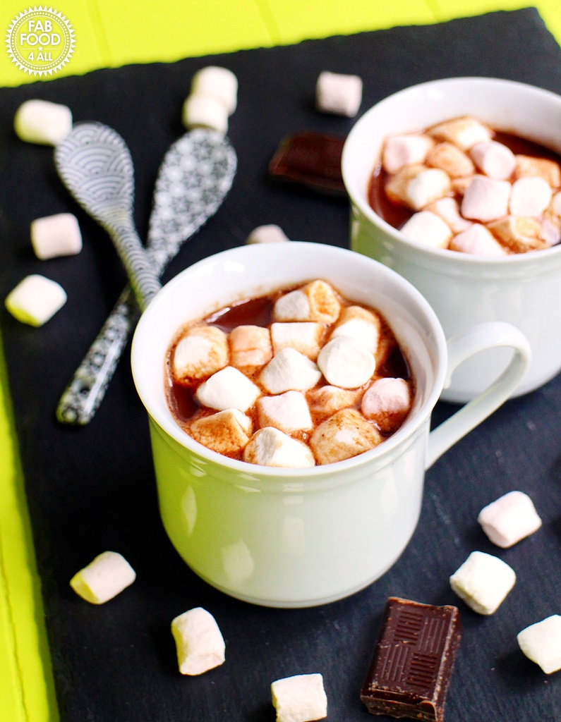 Boozy Hot Chocolate with Baileys Chocolat Luxe & Marshmallows, espresso cups