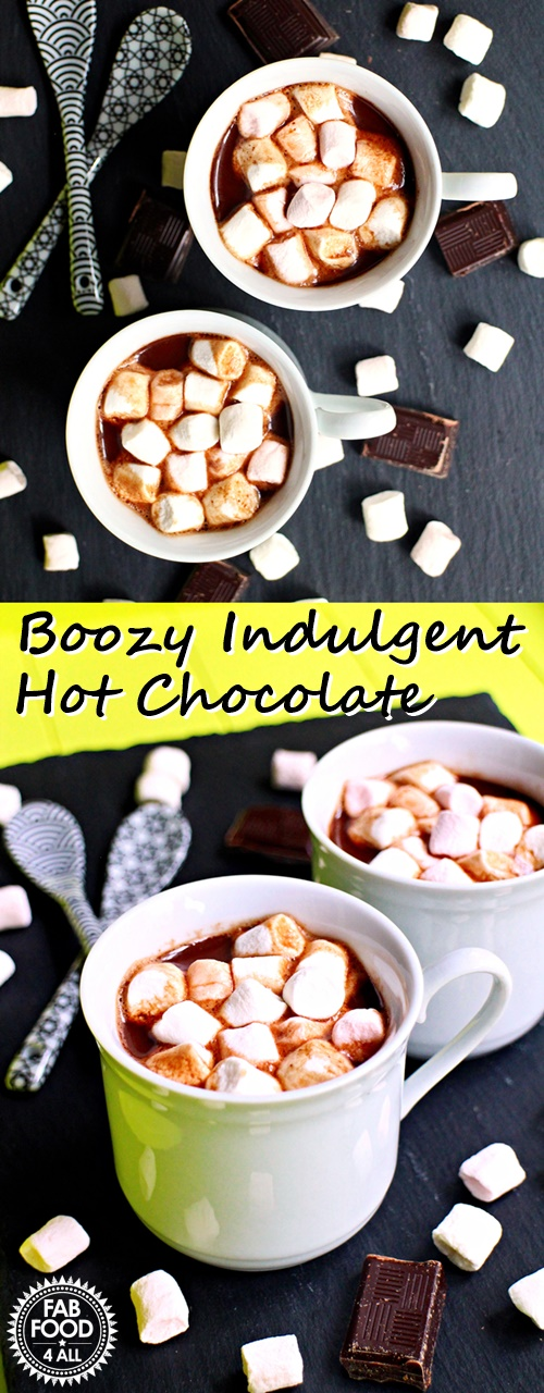 Boozy Decadent Hot Chocolate with Baileys Chocolat Luxe & Marshmallows served in espresso cups! Just lush! @FabFood4All #CorianderQueen