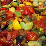 Ratatouille close up in a pan.