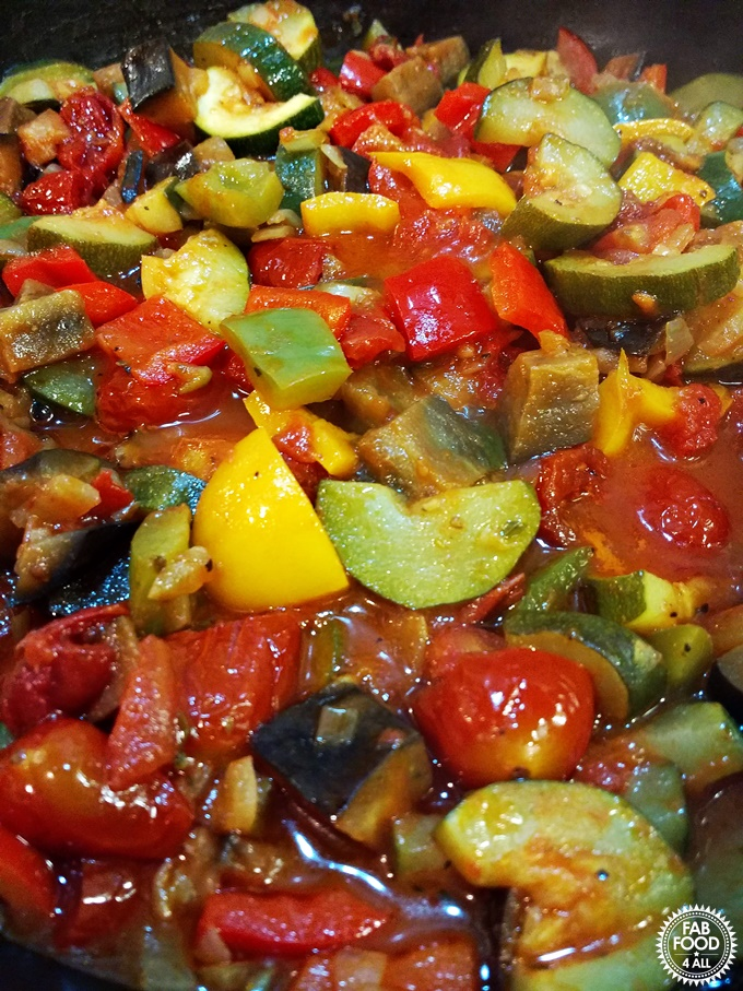 Simple Ratatouille close up in a pan.