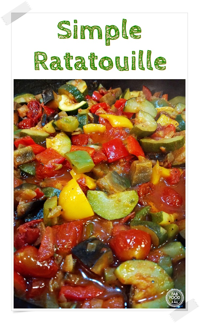 Simple Ratatouille close up in a pan. Pinterest image.