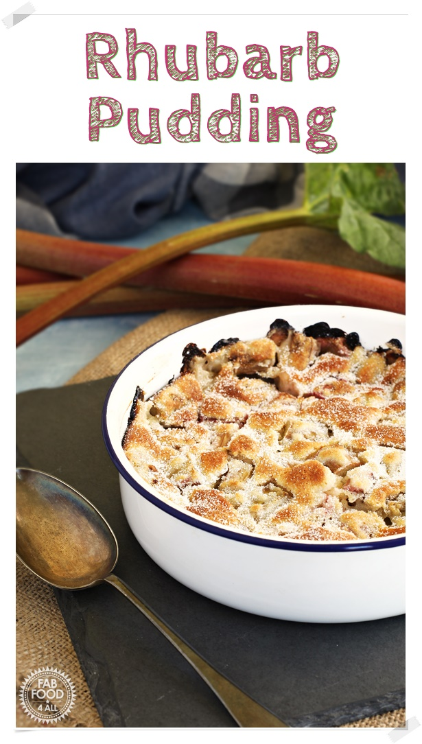 Rhubarb Pudding Pinterest image.