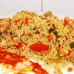 Speedy Mediterranean Vegetable Couscous - a delicious side dish served here with pan fried salmon.