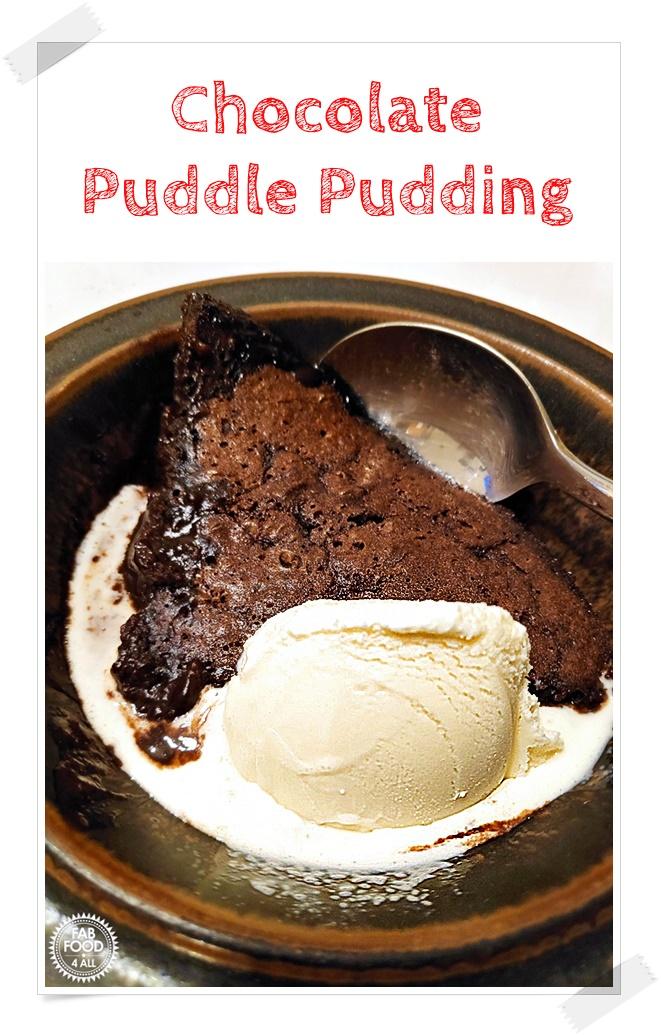 Self Saucing Chocolate Puddle Pudding Pinterest image.