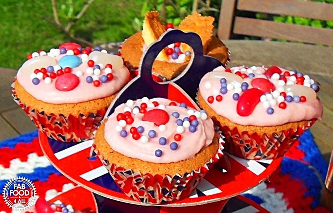 Diamond Jubilee Cupcakes on a Union Jack Cake stand.