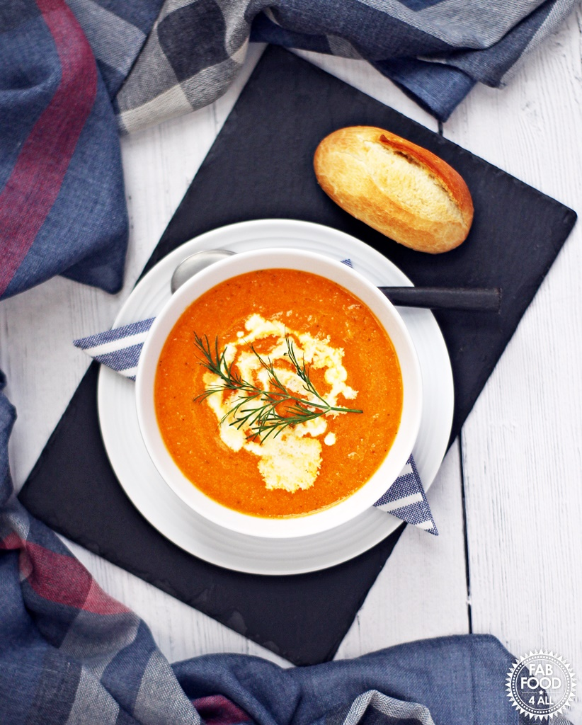 Tomato, Carrot and Dill Soup - creamy, garlicky & delicious! This soup was a best seller when I worked in catering and a personal favourite! #tomato #carrot #dill #soup #souprecipes #tomatorecipes #carrotrecipes #