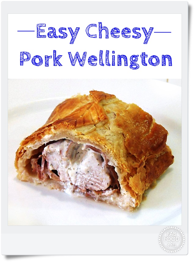 Easy Cheesy Pork Wellington - pork fillet, stuffed with garlic & cream cheese, wrapped in prosciutto and puff pastry. Perfect for a dinner party and oh so easy yet impressive! #pork #porkrecipes #PorkWellington #Wellington #WellingtonRecipes #PuffPastry #Pastry #garlic #creamcheese #dinnerpartyrecipes #