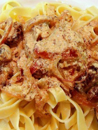 Scrumptious Chipolata Tagliatelle on a plate