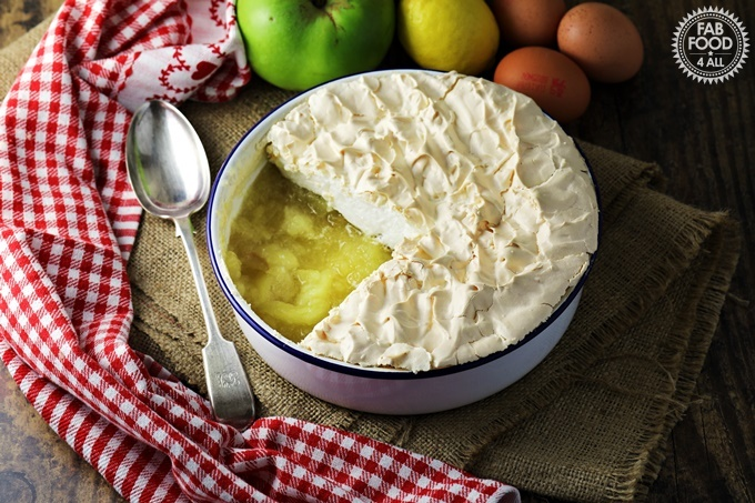 Apple Meringue with serving spoon.