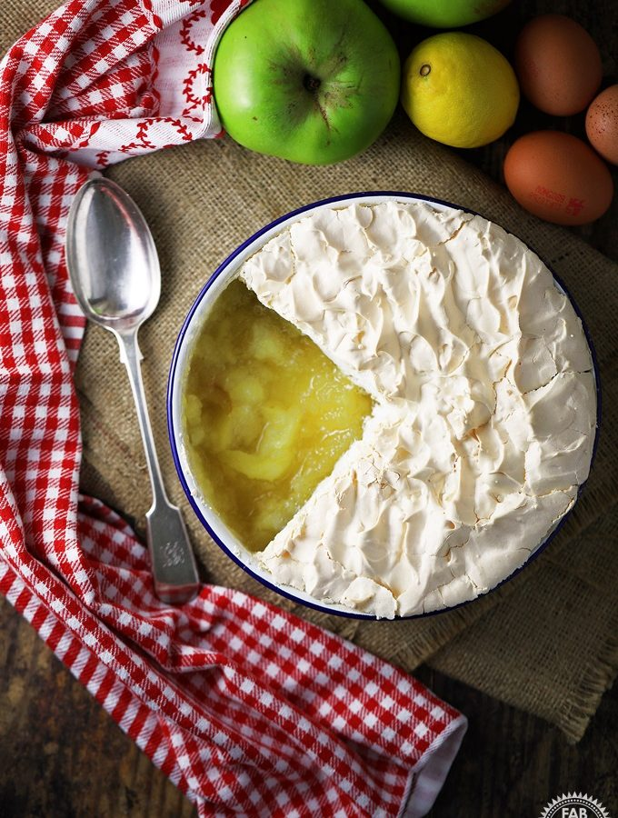 Apple Meringue in a dish with portion removed.
