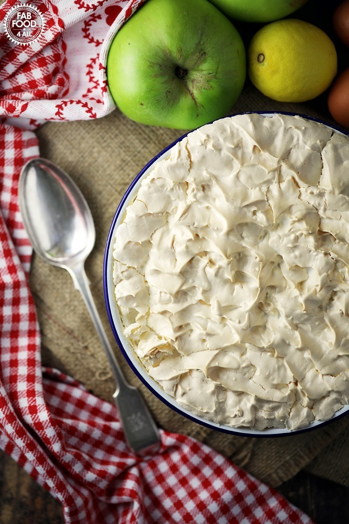 Apple Meringue flatlay with serving spoon.