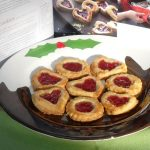 Hallon Cookies on a Christmas plate.