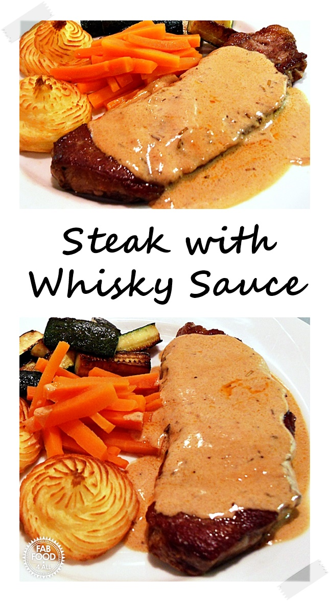 Steak with Whisky Sauce Pin image.