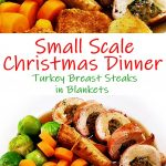 Stuffed Turkey Breast Steaks in Blankets sliced with gravy , roast potatoes & vegetables.
