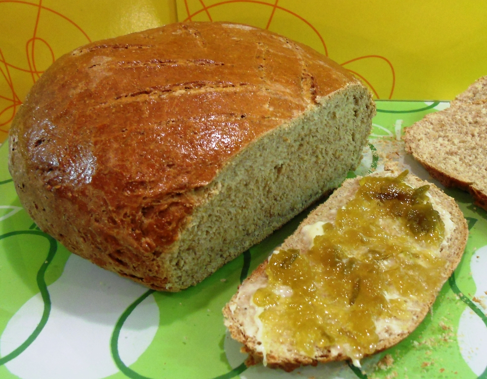 Simple Rye Loaf with Greengage Jam