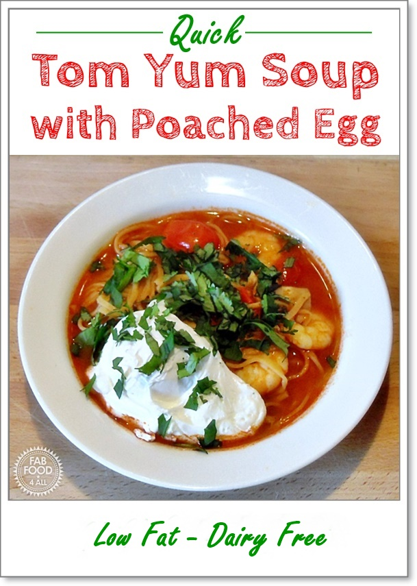 Tom Yum Soup with Poached Egg - a delicious quick & spicy soup packed full of prawns, mushrooms & cherry tomatoes! #soup #souprecipes #TomYum #Spicy #poachedegg #quickrecipes #easyrecipes