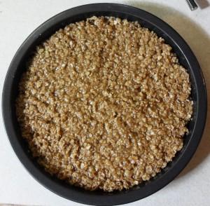Chocolate Drizzle Flapjacks in baking tin