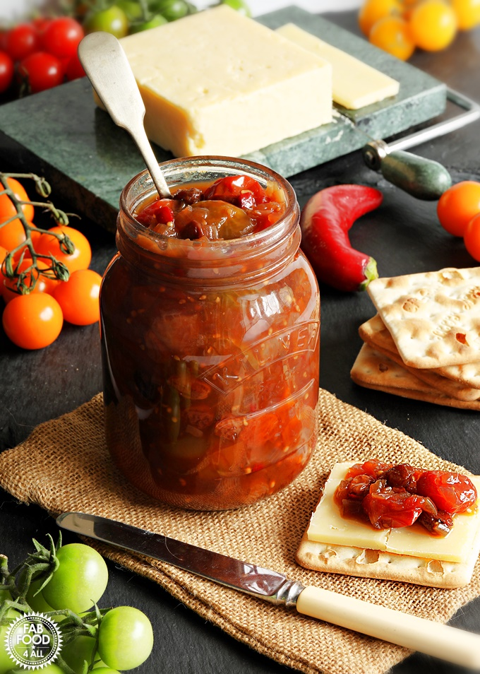 A jar of Mixed Tomato Chutney with cheese & biscuits.