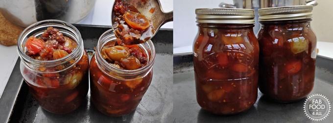 Tomato Chutney - potting up into jars.