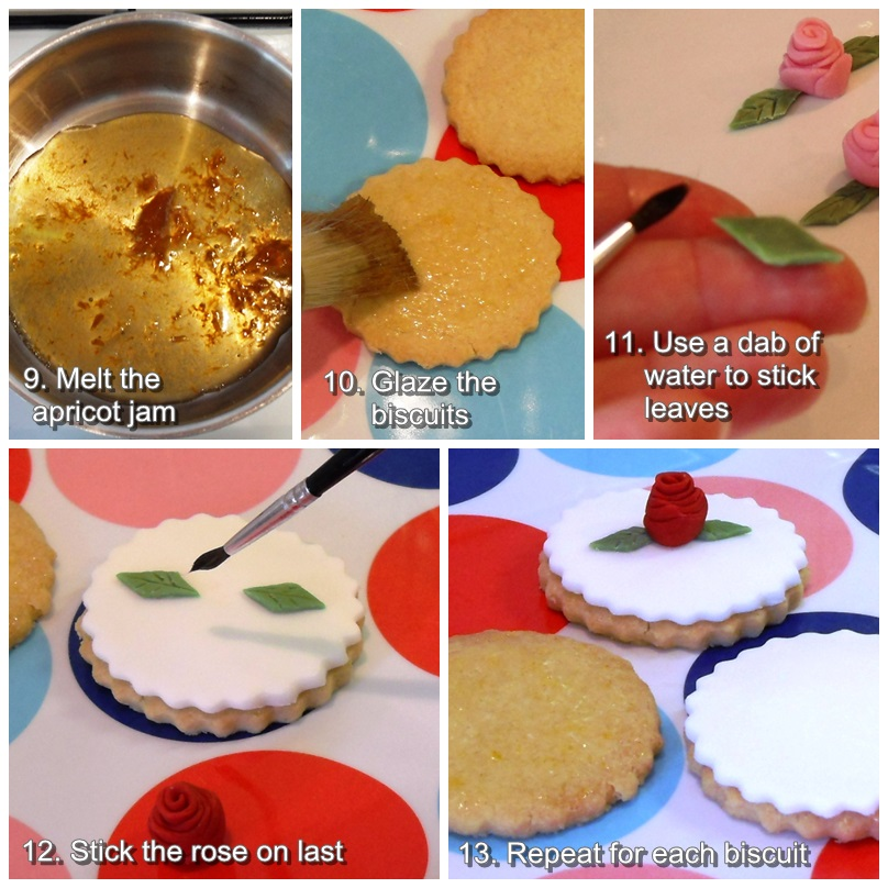 Fondant Rose Biscuit Assembly