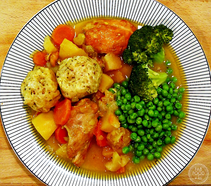 Chicken Casserole & Cheesy Herb Dumplings on a plate.