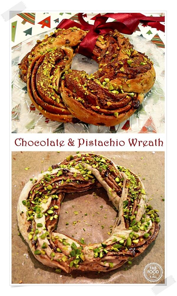 Chocolate & Pistachio Wreath - a fabulous festive sweet bread.