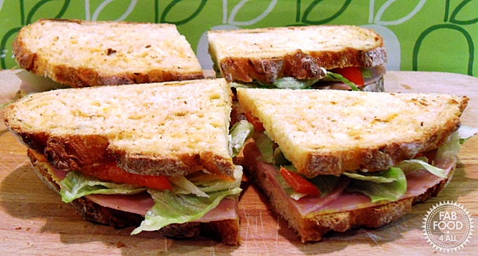 Sandwiches made with Easy Cheesy Chilli Cob loaf.