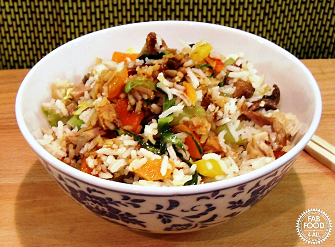 Simple Pork Fried Rice in a bowl.