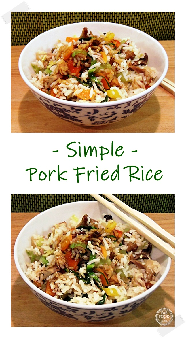 Pork Fried Rice in a bowl with chopsticks. Pinterest image.