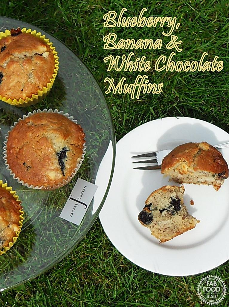 Blueberry, Banana and White Chocolate Muffins - Fab Food 4 All #blueberry #banana #WhiteChocolate #recipe #muffins #baking #cake