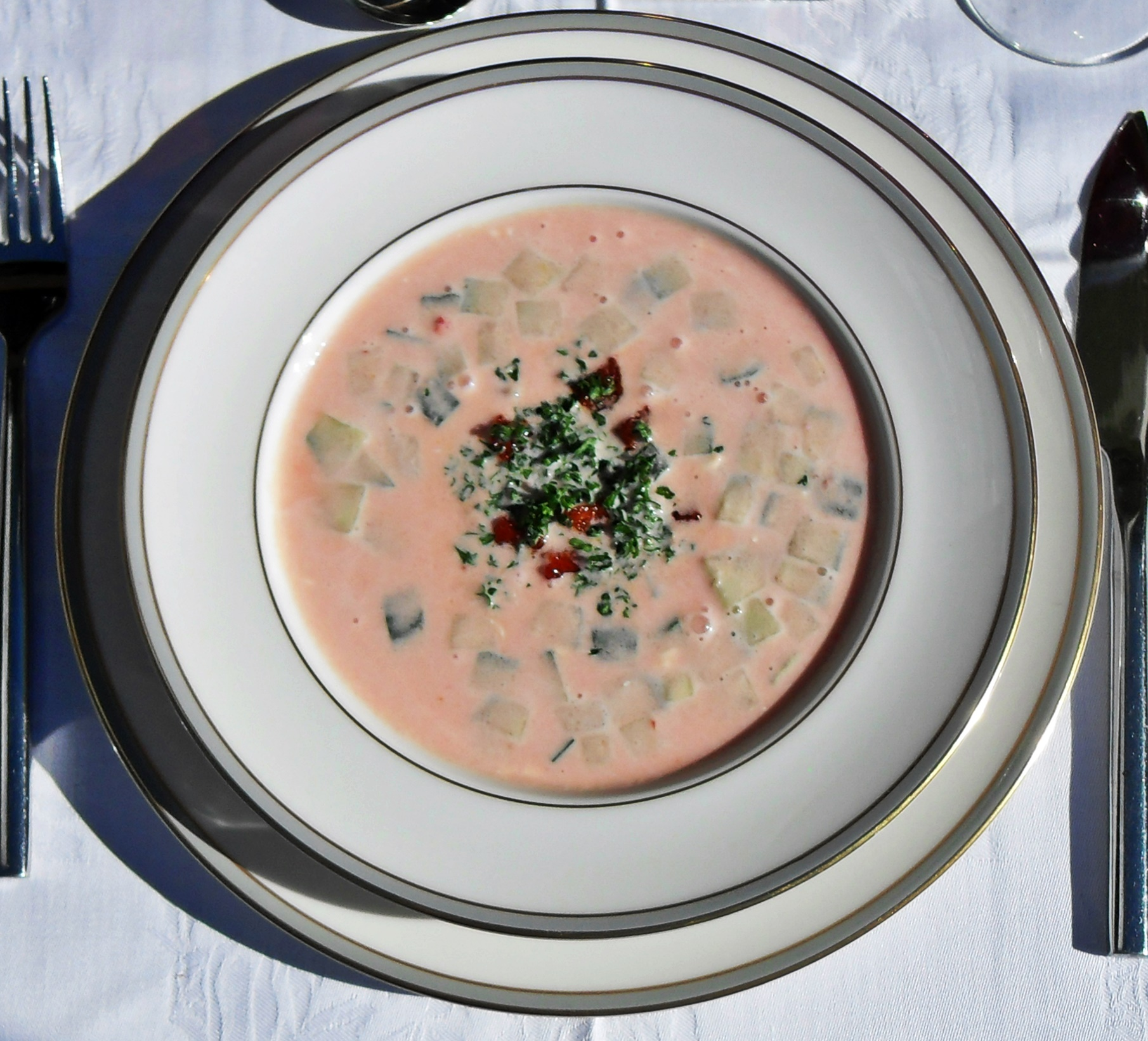 Spicy cold tomato soup, creamy, Spanish, Meditteranean