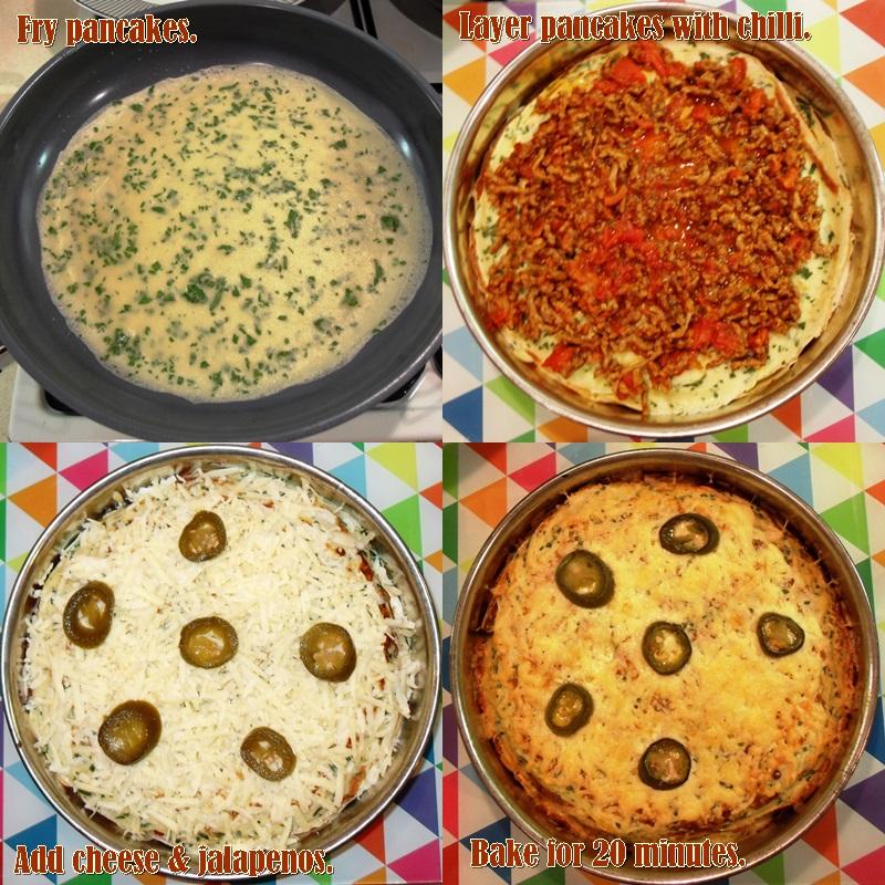 Pancake Day, Shrove Tuesday, Mardi Gras, Tex Mex Pancakes, chilli con carne, layered pancake bake, savoury