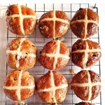 Wholemeal Apple Hot Cross Buns on wire rack Pinterest Image