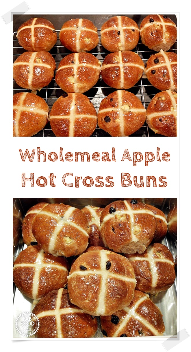 Wholemeal Apple Hot Cross Buns - healthier than your usual Hot Cross Bun and incredibly delicious! Packed full of apple chunks, currants & mixed spice you're in for a treat! #HotCrossBun #HotCrossBunRecipes #HealthyRecipes #WholemealHotCrossBuns #AppleHotCrossBuns #WholemealRecipes #WholemealFlourRecipes #Yeast #Baking #EasterRecipes