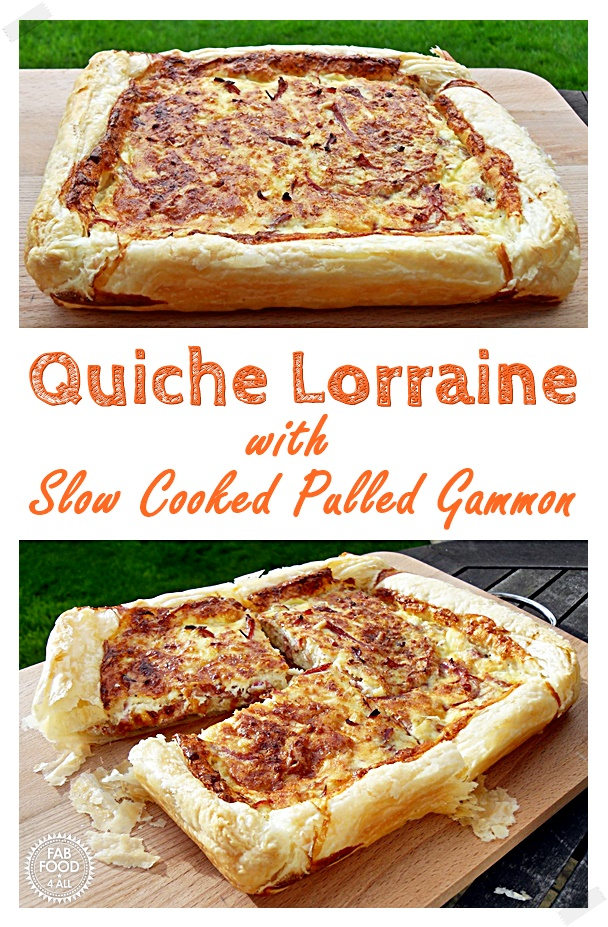 Quiche Lorraine with Slow Cooked Pulled Gammon on a wooden board - Pinterest image.