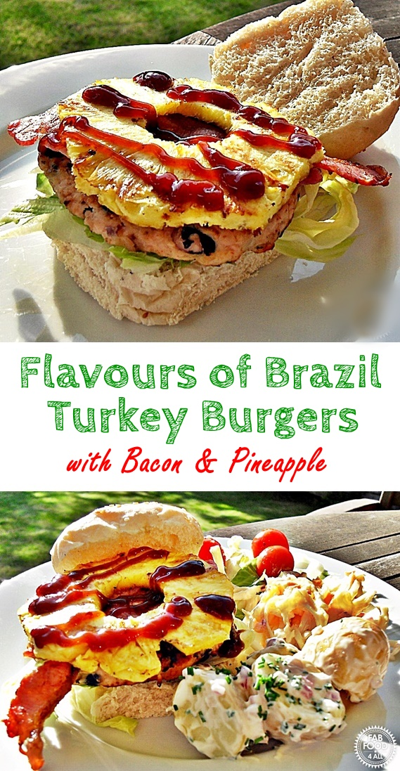 Flavours of Brazil Turkey Burgers with Bacon & Pineapple (pin image)