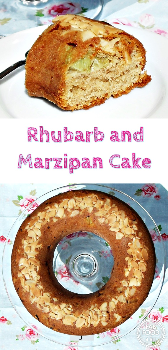 Rhubarb and Marzipan Cake - Fab Food 4 All #rhubarb #marzipan #cake