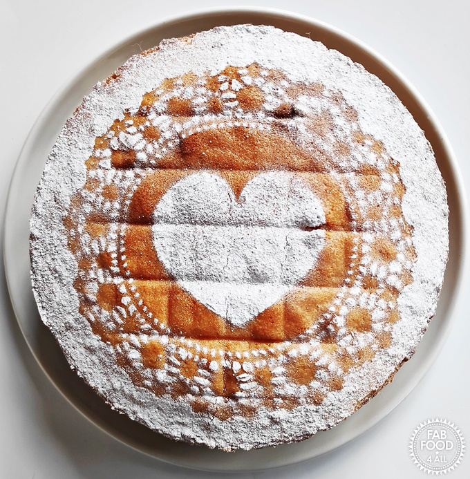 Victoria Sandwich with heart shaped dusting of icing.