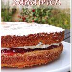Victoria Sandwich on a platter - Pinterest image.