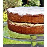 Victoria Sandwich on a pedestal Pinterest image.